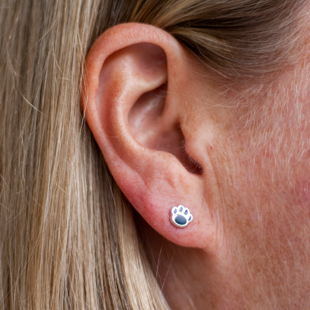 Small Enamel Paw Print Stud Earrings