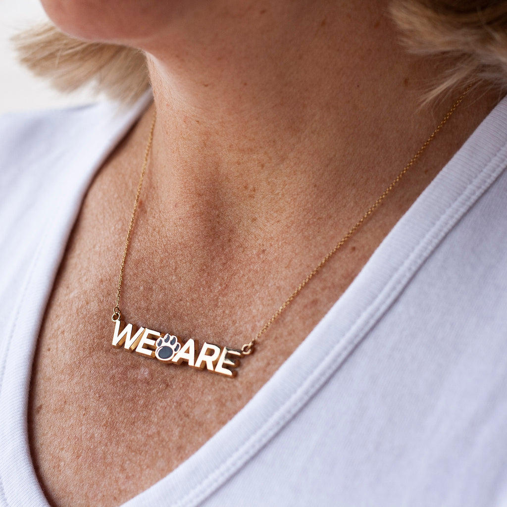 "Penn State ""WE ARE"" Gold Necklace"
