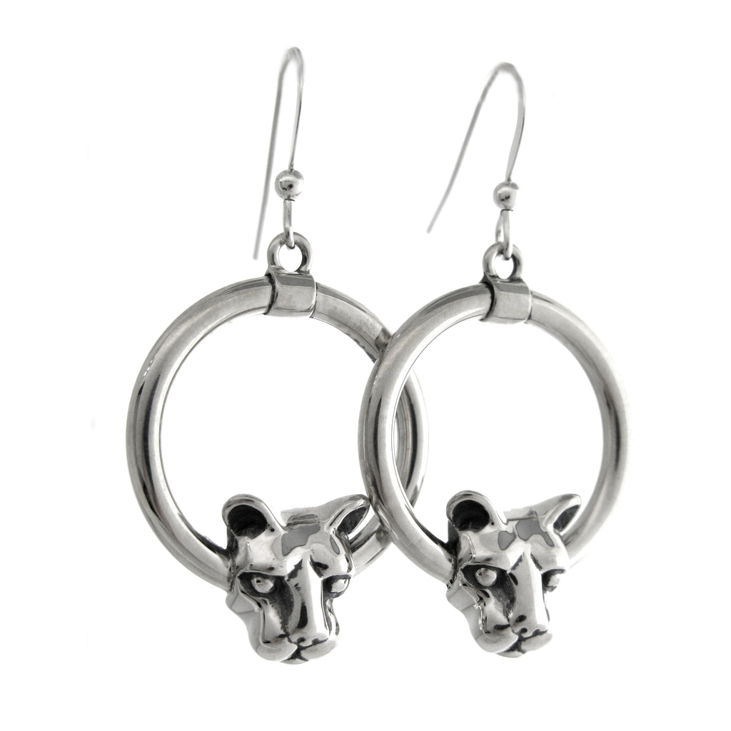 Nittany Lion Head Circle Dangle Earrings