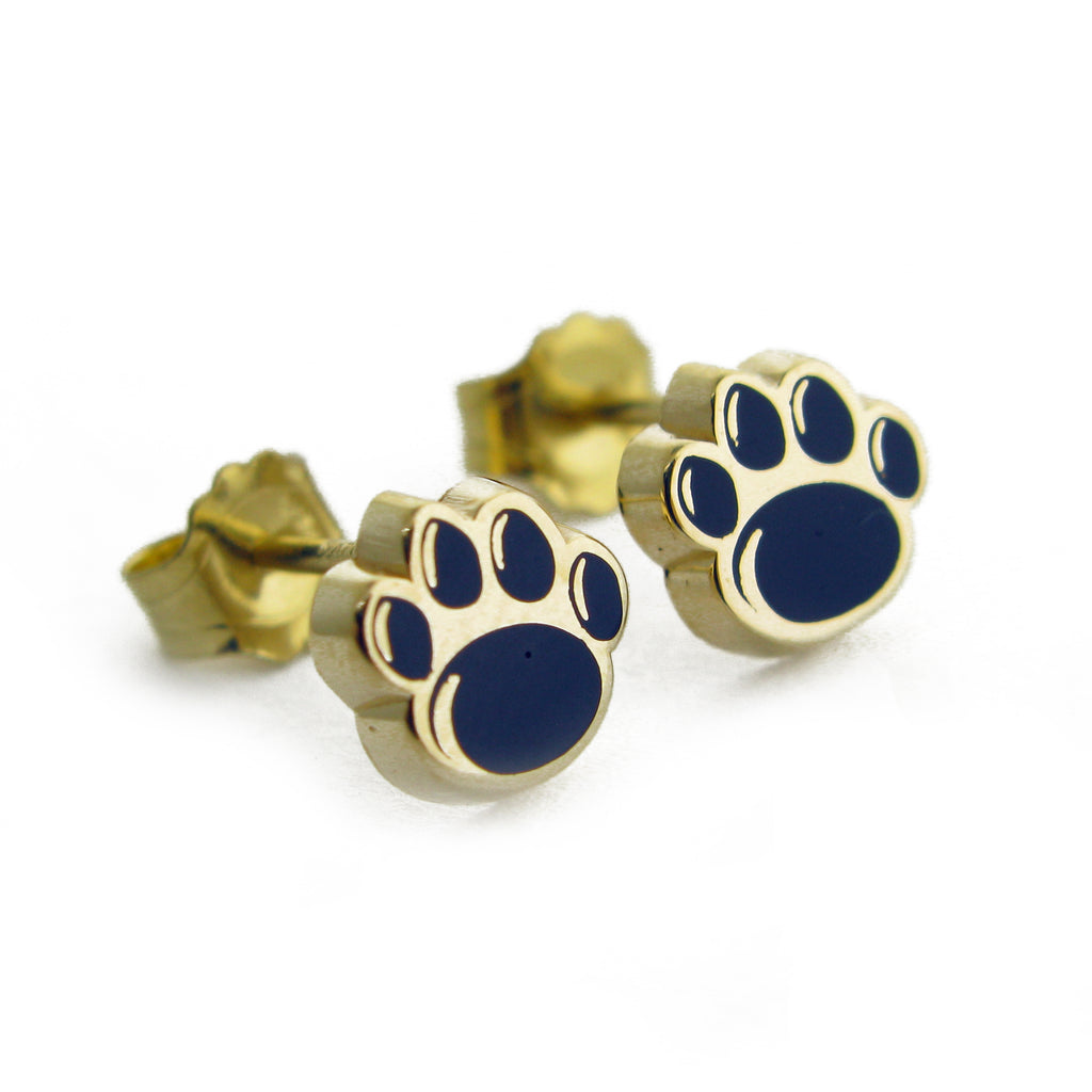 Yellow Gold Small Enamel Paw Print Stud Earrings