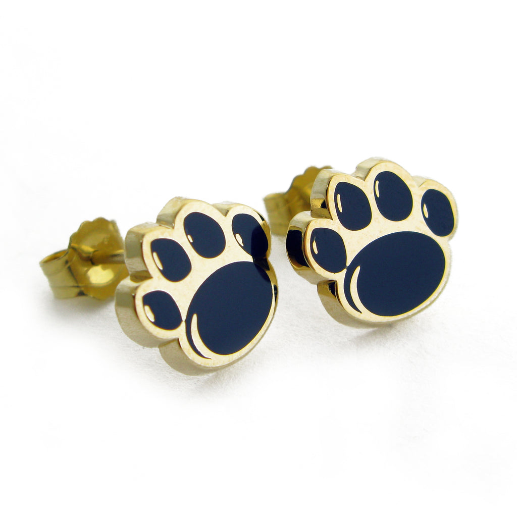 Yellow Gold Large Paw Print Enamel Stud Earrings
