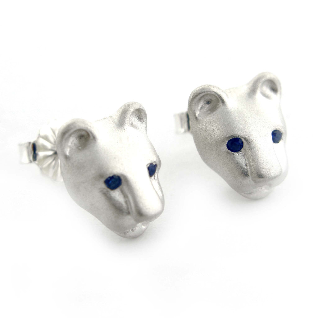 Bill Wallace Lion Head Earrings w/Sapphire Eyes