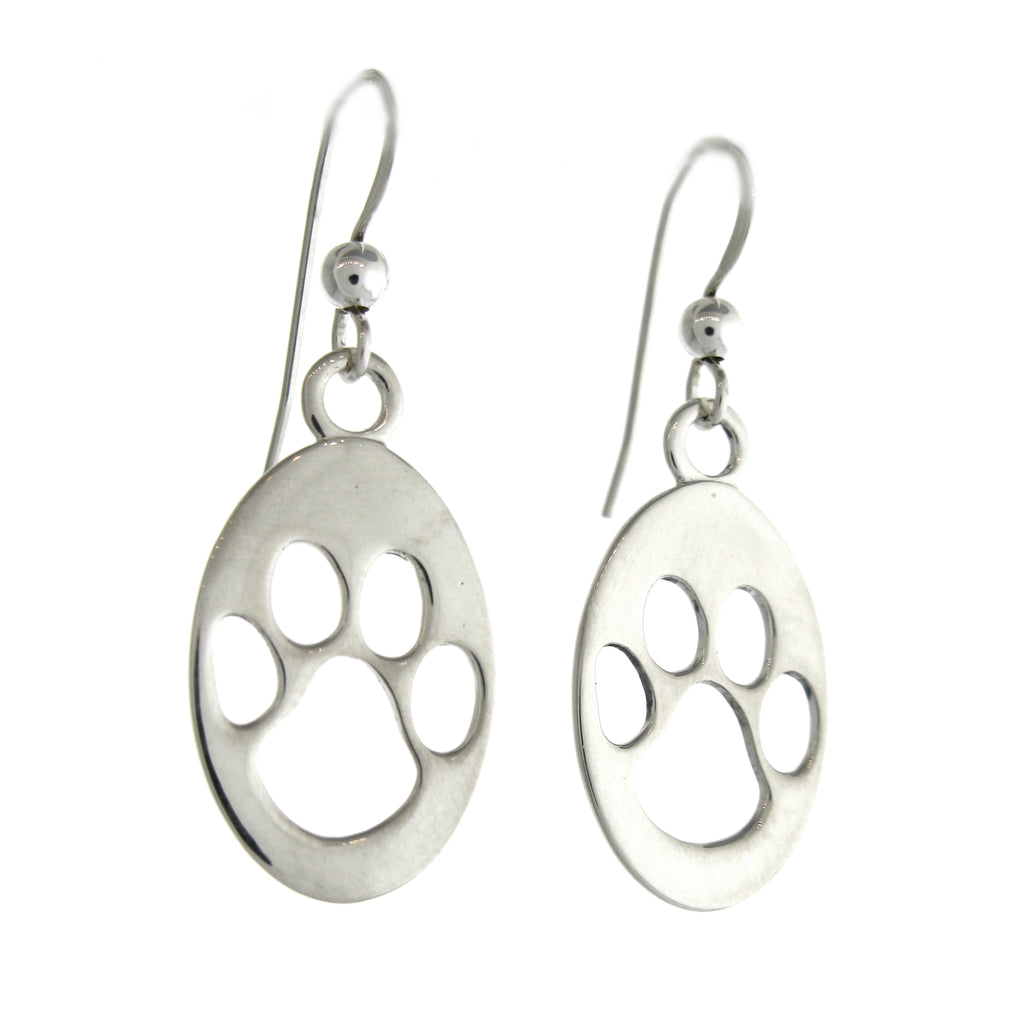 Cutout Oval Paw Print Dangle Earrings