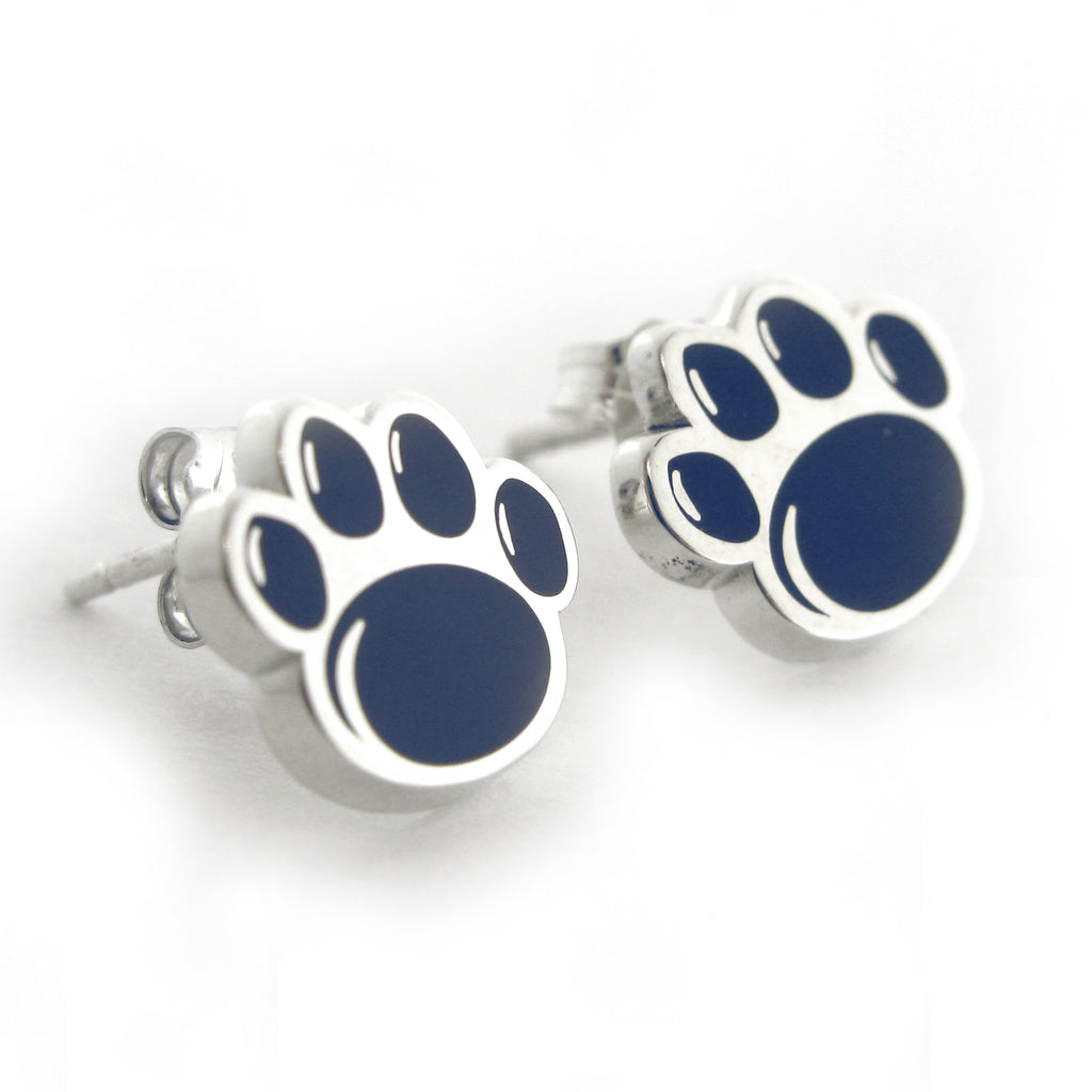 Large Paw Print Enamel Stud Earrings