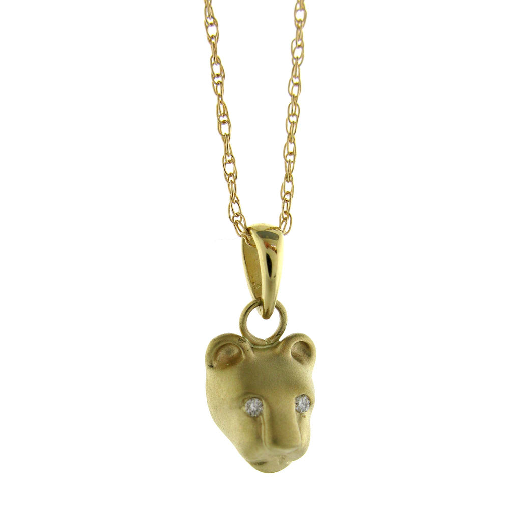 Bill Wallace Lion Head Necklace - Gold and Diamond
