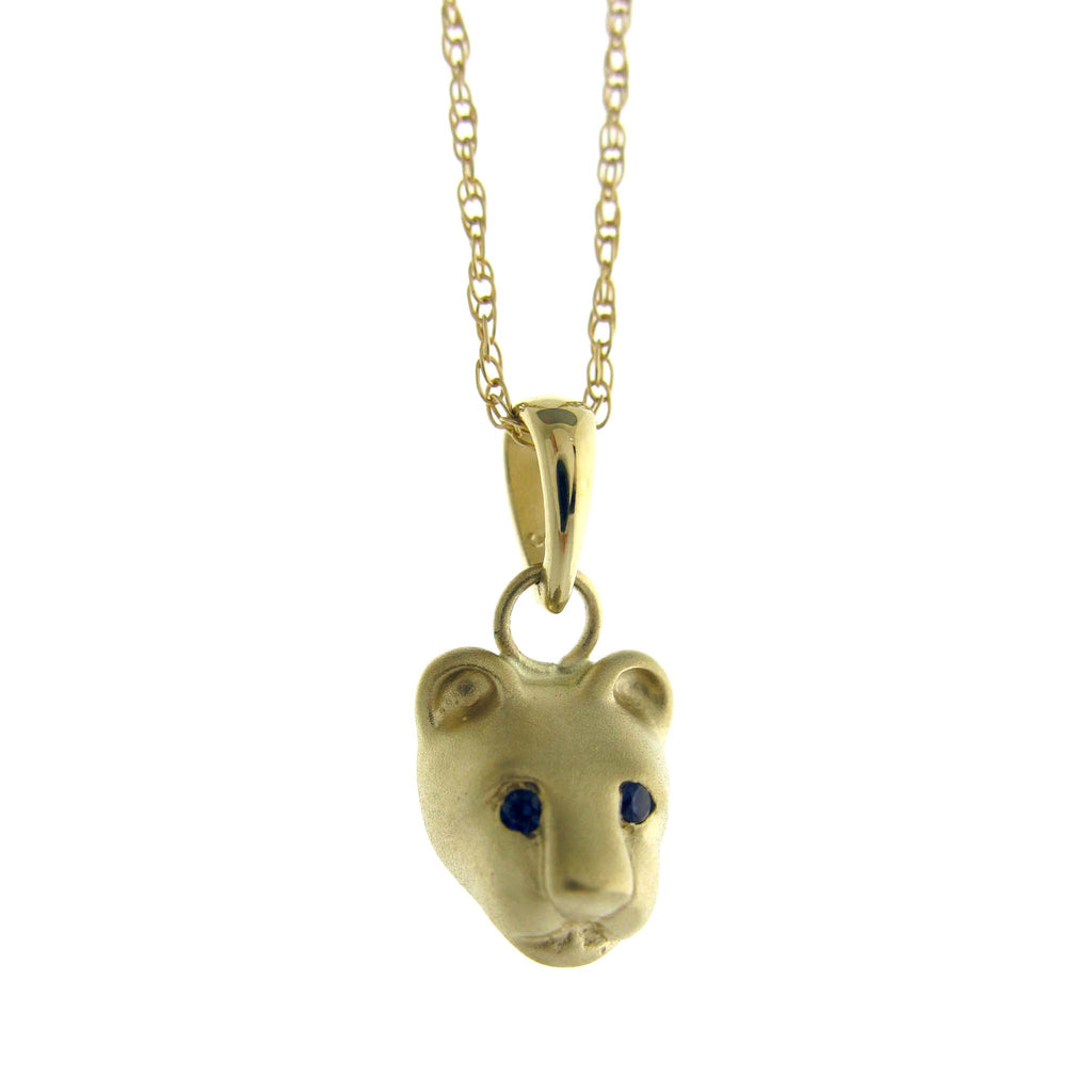 Bill Wallace Lion Head Necklace - Gold and Sapphire