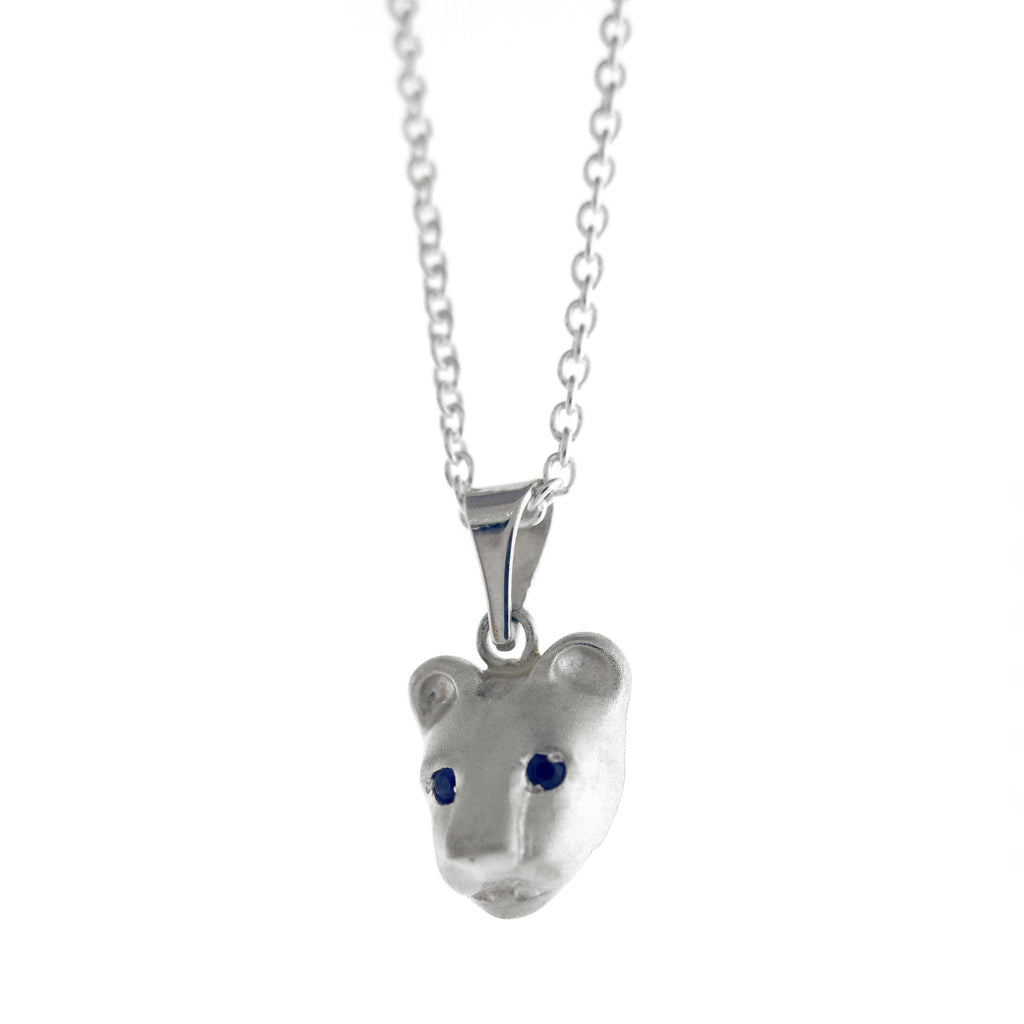 Bill Wallace Lion Head Necklace with Sapphires