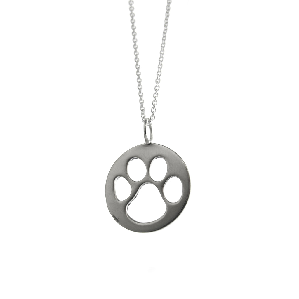 Cutout Round Paw Print Necklace