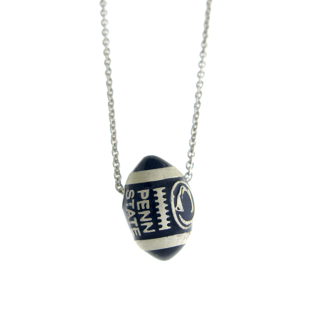Blue Enamel Football Necklace