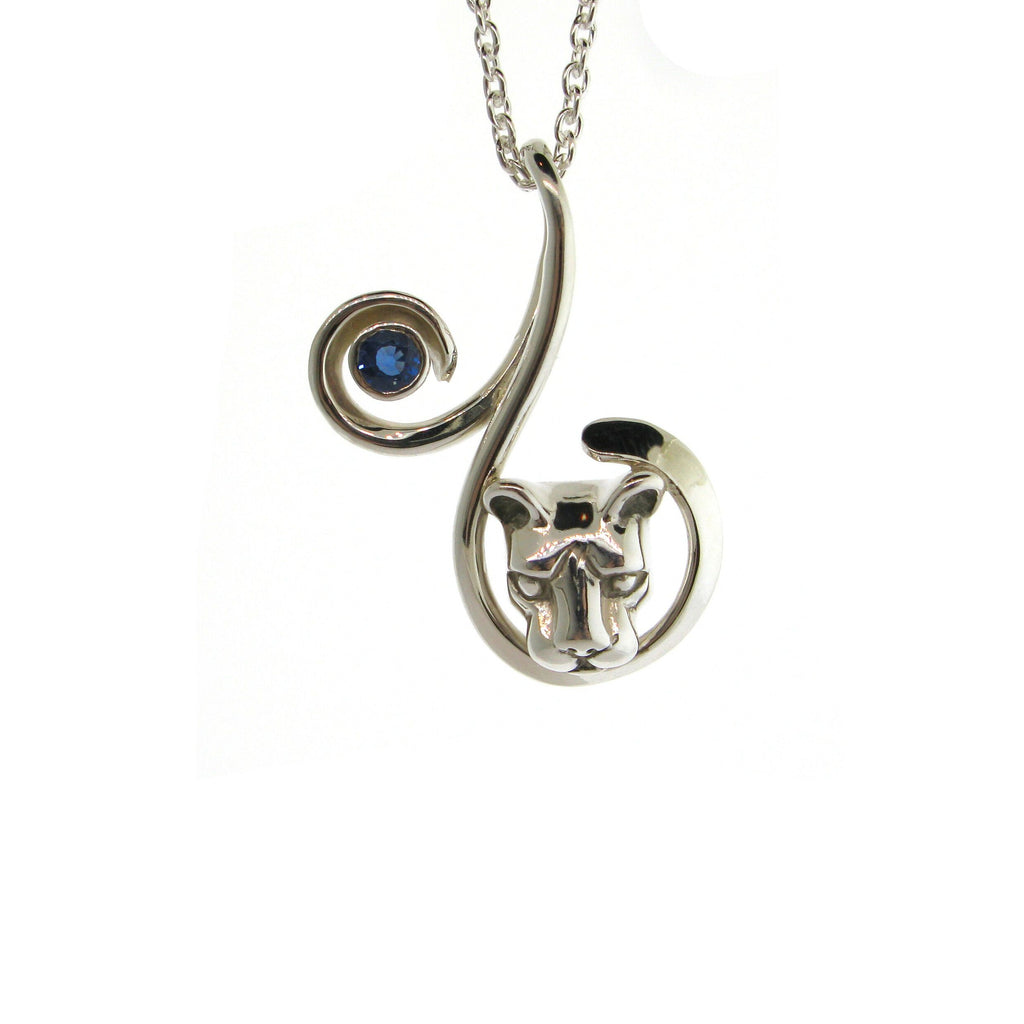Curl Lion Head and Sapphire Necklace
