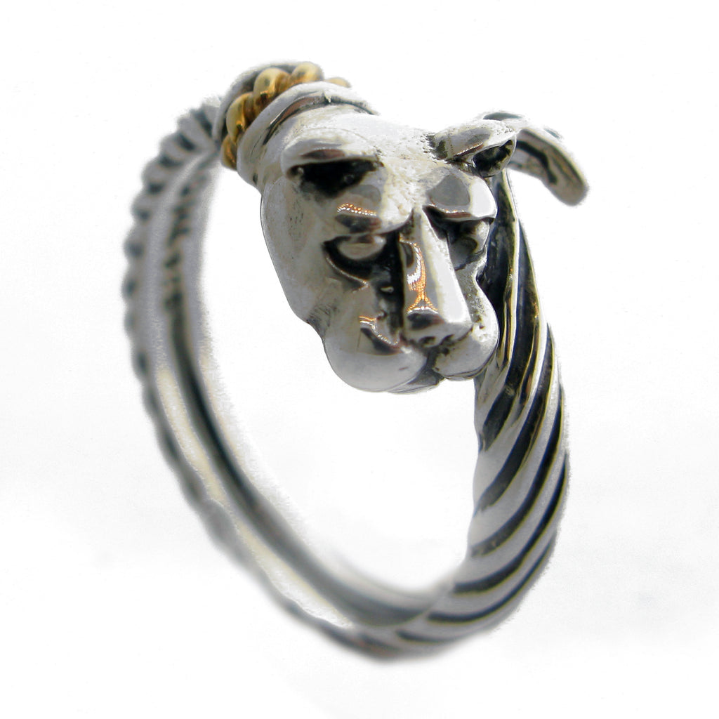 """Bold with Gold""  Lion  Head/Tail Wrap Ring"