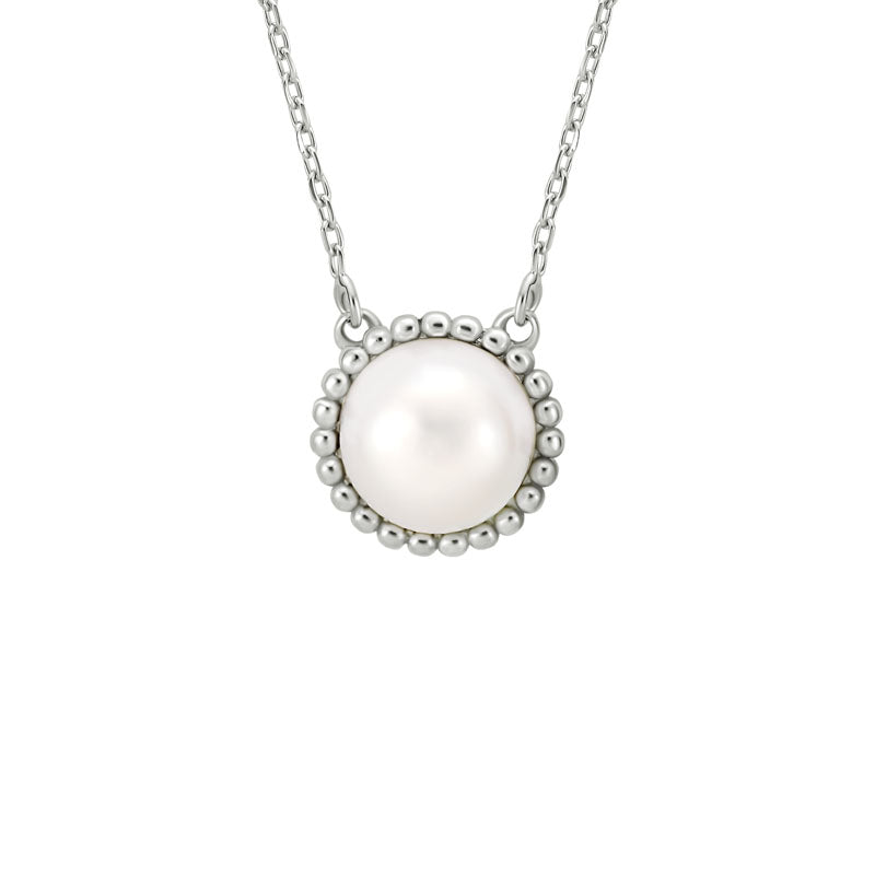 Beaded Button Pearl Necklace