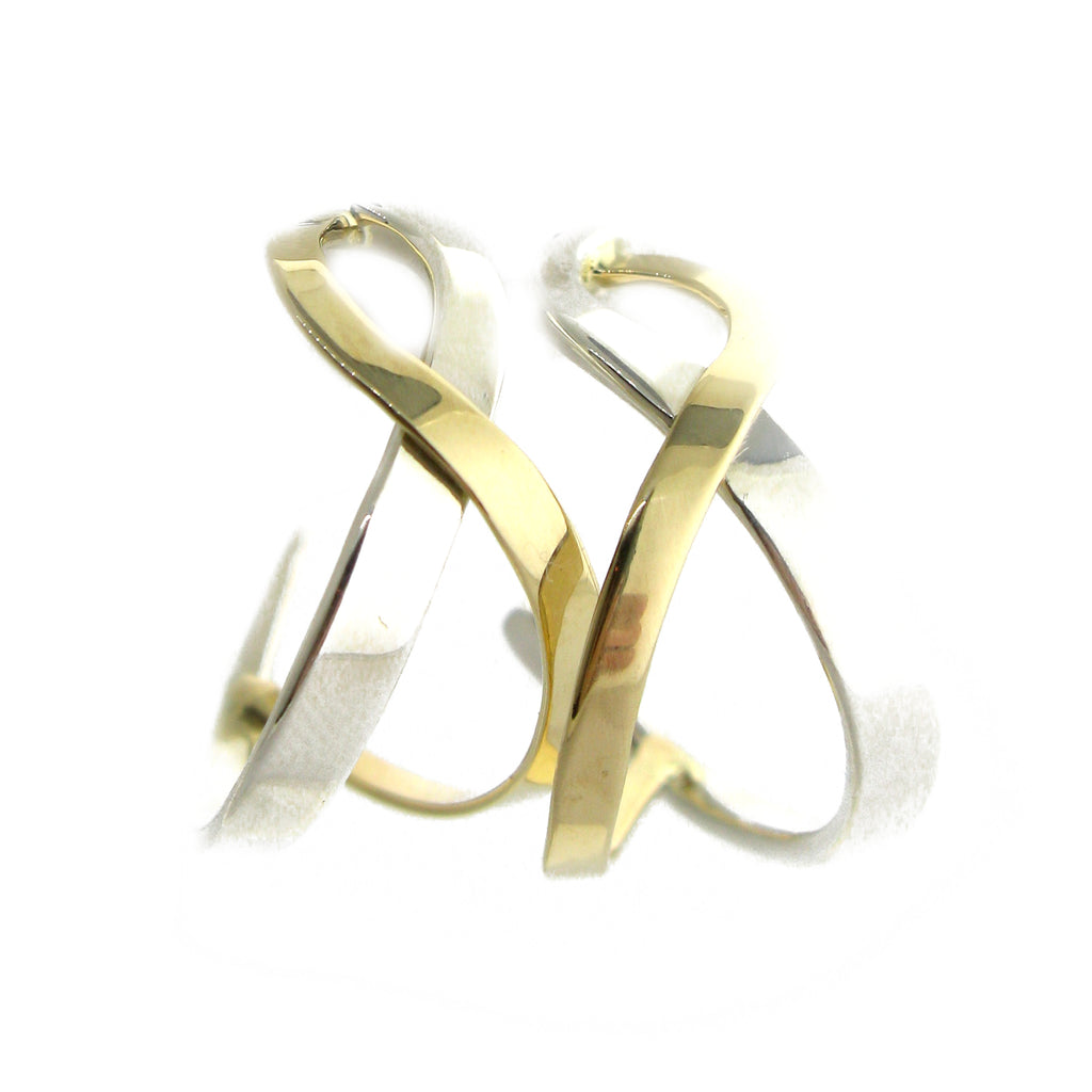 Two Tone Ribbon Earrings