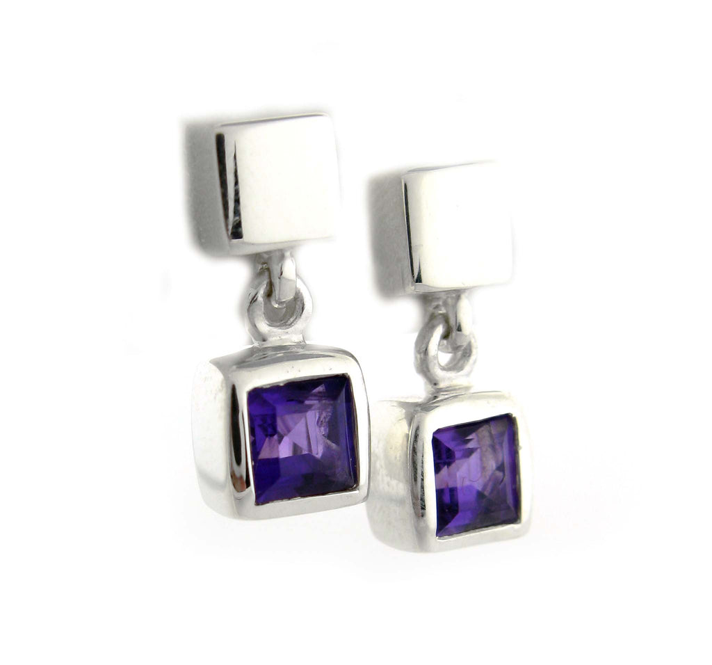 Amethyst Cube Earrings by Zina