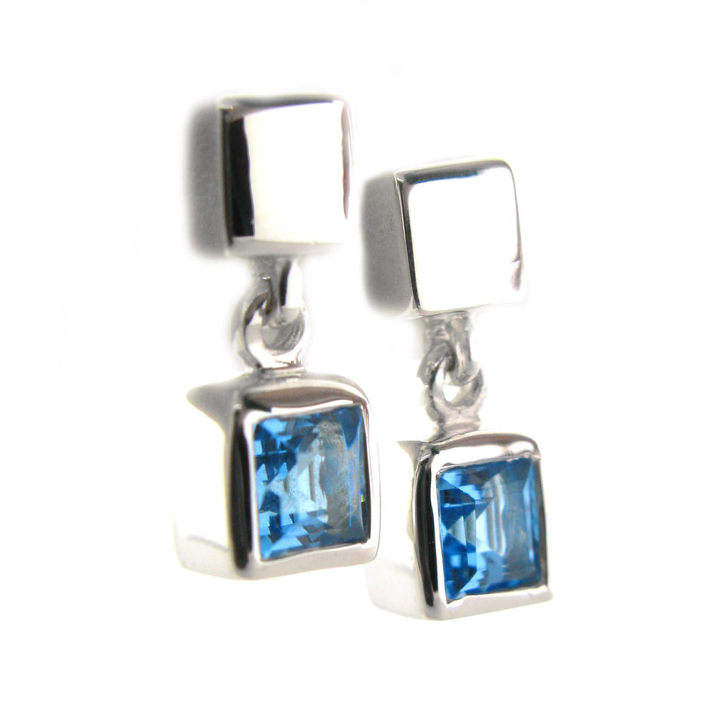 Blue Topaz Cube Earrings by Zina