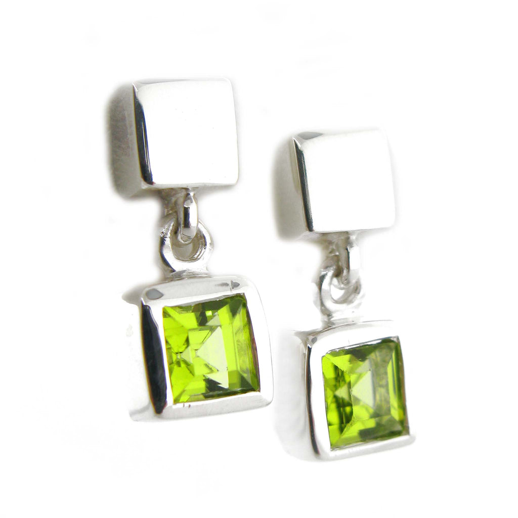 Peridot Cube Earrings by Zina