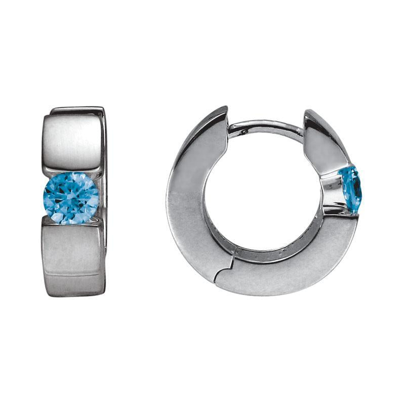 Hinged Hoops with Blue Topaz