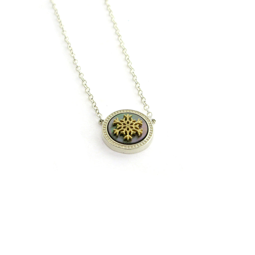 "Snowflake ""Dream"" Necklace-2Tone"