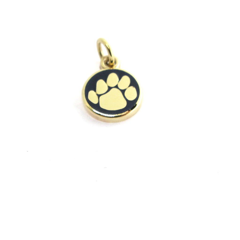 Gold Nittany Lion Blue Paw Print Charm