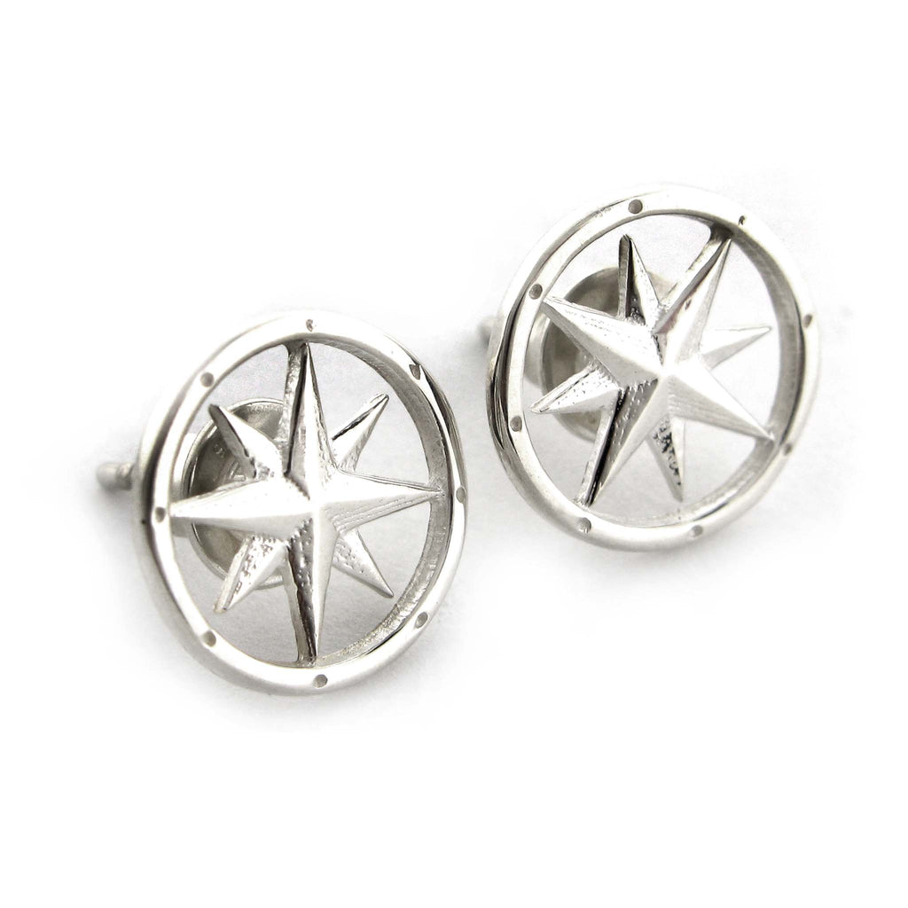 Silver Compass Rose Stud Earrings