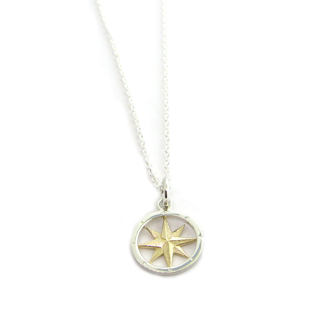 Tiny Compass Necklace 2 Tone