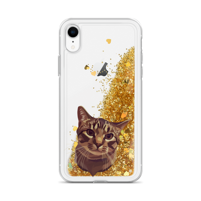 Custom Pet Print Liquid Glitter Phone Case