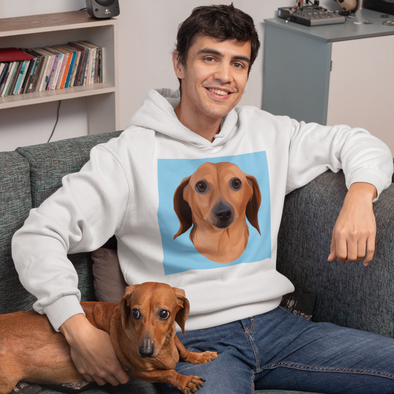 Men's White Custom Pet Print Hoodie