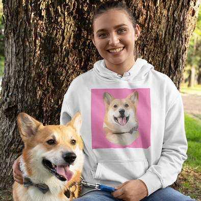 Women's White Custom Pet Print Hoodie