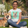 Women's White Custom Pet Print T-Shirt