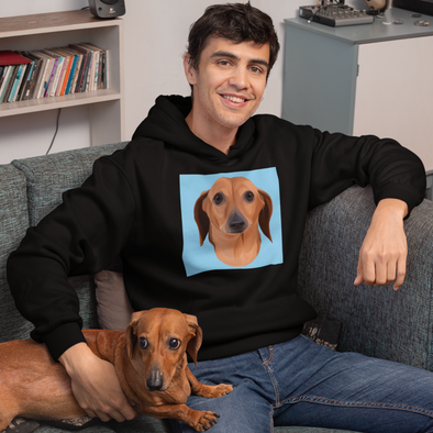 Men's Black Custom Pets Print Hoodie