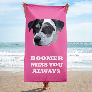 Pet Print Beach Towel With Text
