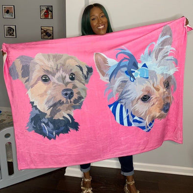 Custom Pet Print Fleece Blanket with dogs | pet blanket | blanket dog