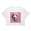 Womens Custom Pet Print White Crop Top- Pink