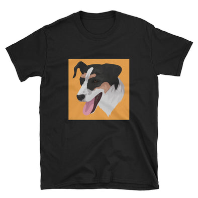 Men's Black Custom Pets Print T-Shirt