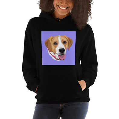 Women's Black Custom Pet Print Hoodie