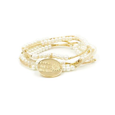 """Live Like Bella"" Pearl Bracelet Set"