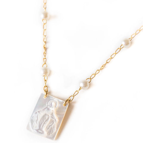 Mother of Pearl Mary Necklace