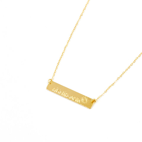 Live Like Bella Bar Necklace