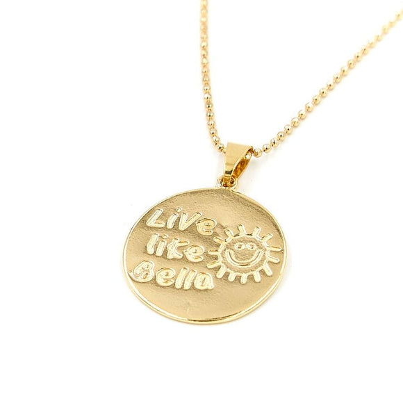 """Live Like Bella"" Golden Necklace"