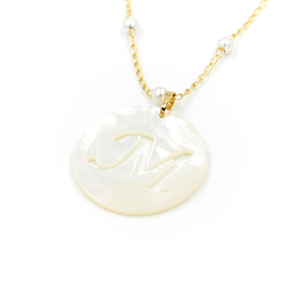 Large Mother of Pearl Initial Necklace