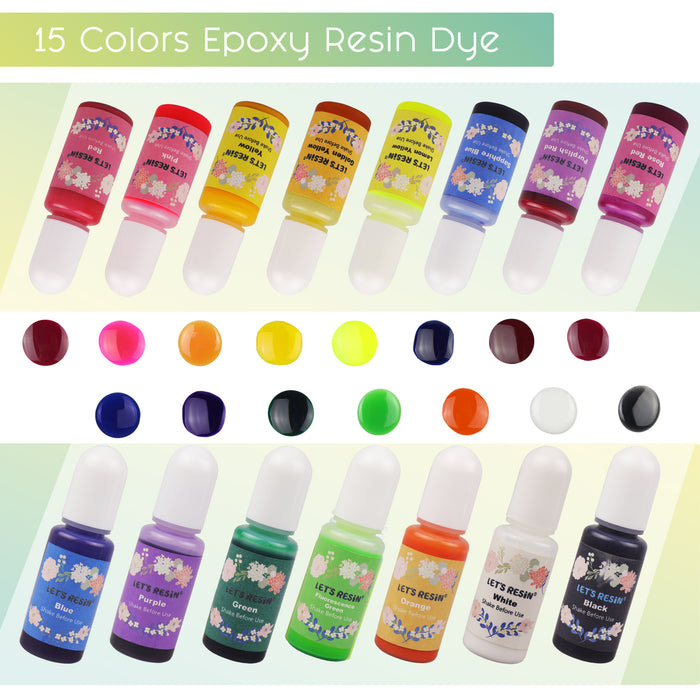 15 Colors Epoxy Pigment, Liquid Resin Colorant Each 0.35oz, Non-Toxic Epoxy Resin Dye