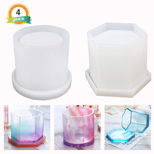 LET'S RESIN 2Pcs Large Pen Holder Epoxy Resin Molds Hexagon Round Silicone Molds