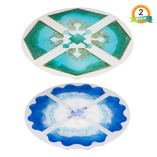 LET'S RESIN Interlocking Coaster Molds, 2 Pcs Agate Molds Epoxy Crafts Mold Cup Mat Mold Octangle Molds Combination 4 In 1