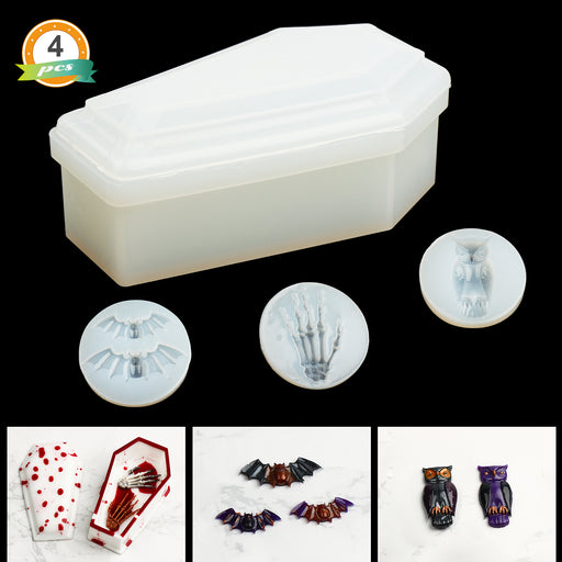 Resin Silicone Molds, Box Molds Resin Coffin Molds with Including Trinket Box Molds and Bat, Owl, Skull Hands, Shape Keychain Mold Set