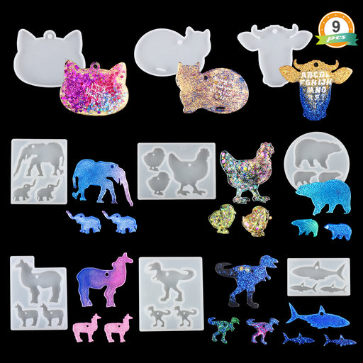 LET'S RESIN 9Pcs Animal Keychain Silicone Molds Shiny Resin Molds