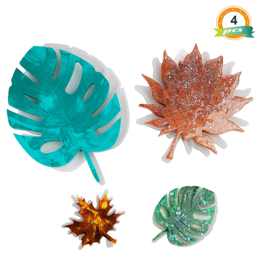 Leaf Resin Molds, 4pcs Silicone Coaster Molds Include Silicone Monstera Leaf Molds and Maple Leaf Molds