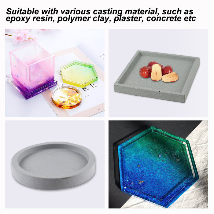 3Pcs Shiny Resin Casting Molds for Coasters, Candle Holders, Flower Pot Holders, Bowl Mat etc