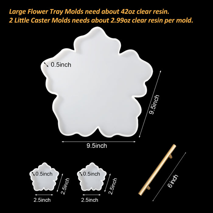 DOZZIOR Silicone Resin Tray Mold Rectangle Geode Agate Platter Epoxy Molds for Resin Casting with 2Pcs Resin Coaster Molds /& 2Pcs Golden Handles for Making Faux Agate Tray Cup Mats Serving Board