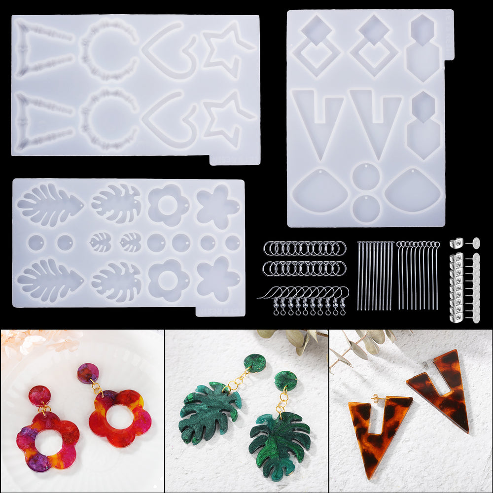 LETS RESIN 3PCS Earring Epoxy Resin Molds Wild Drop Dangle Resin Earring Mold Fashion Jewelry Resin Silicone Molds for Women Girls