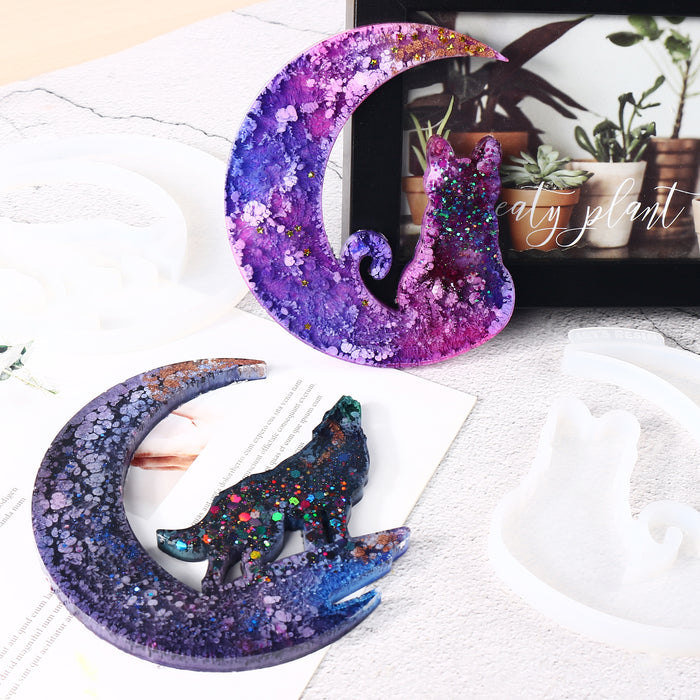 LET'S RESIN Crescent Moon Mold, Wolf Cat Fairy Unicorn Silicone Epoxy Resin Crescent Molds